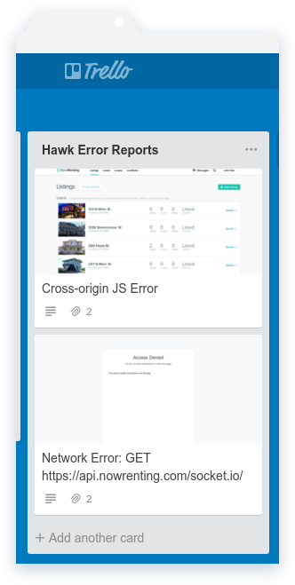Hawk Trello Error Column
