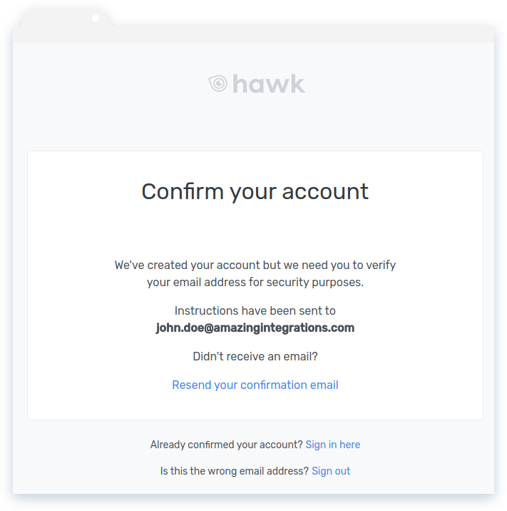 Hawk Confirm Account Screen