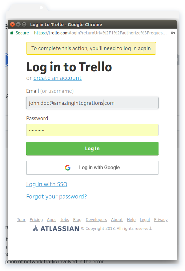 Log in to Trello