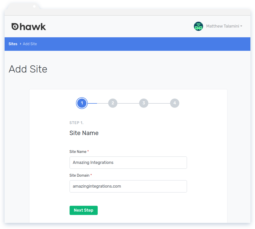 Install Hawk: Step 1 of the Add Site wizard