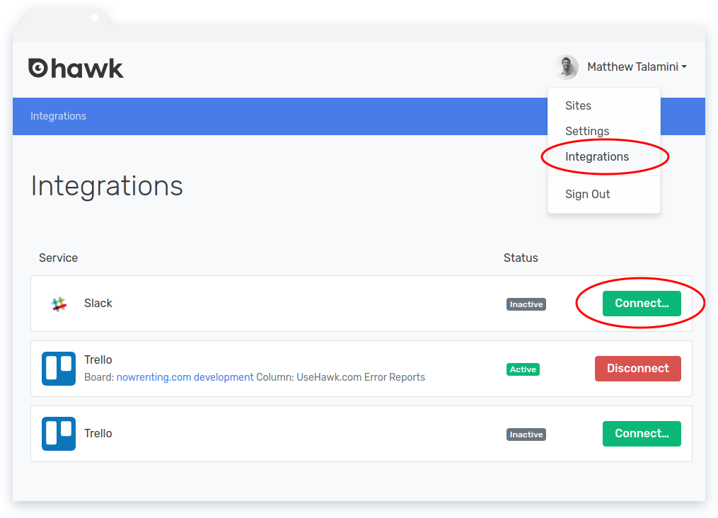 Navigate to the Integrations page