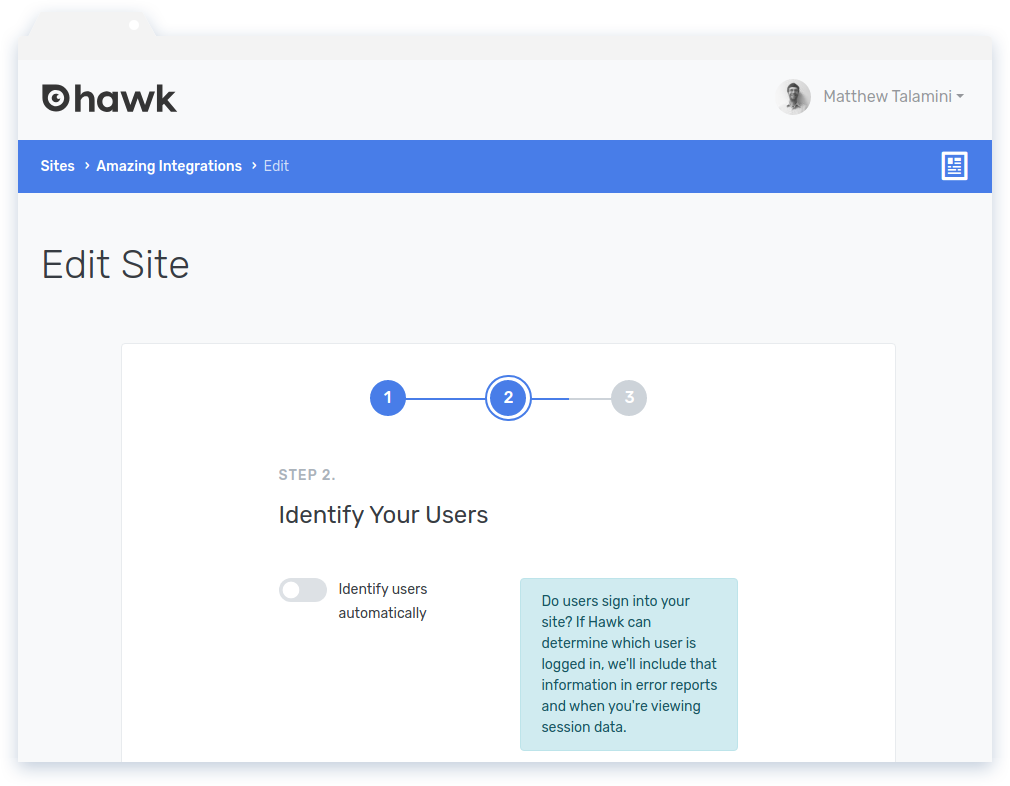 Install Hawk: Step 2 of the Add Site wizard