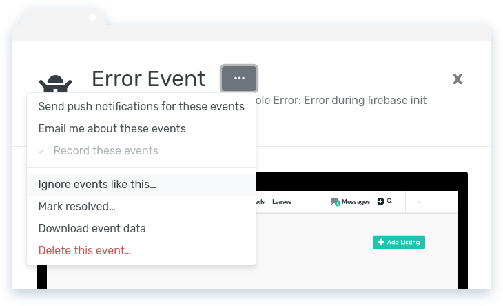 Error Event Options