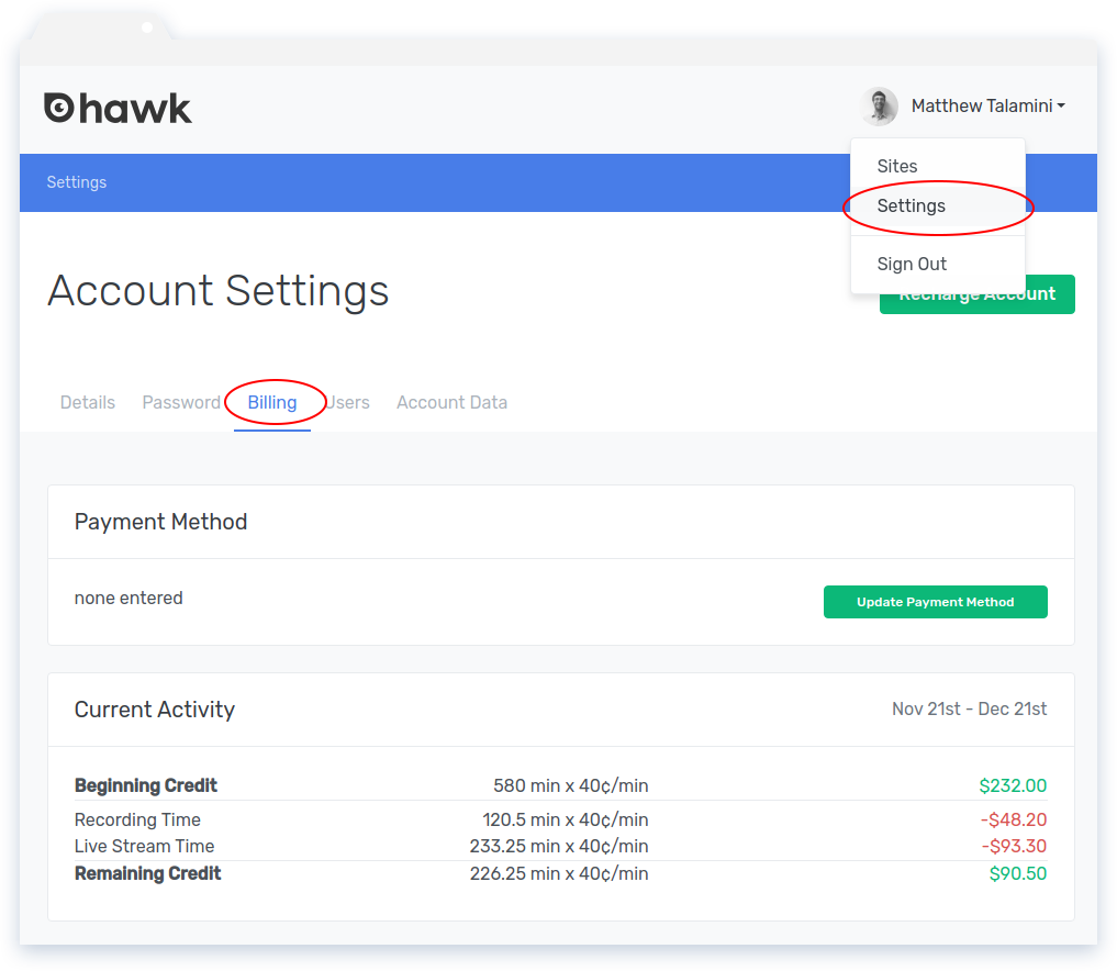 Hawk Recharge Account Navigation